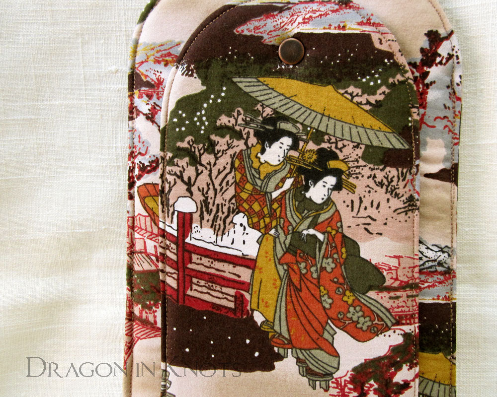Japanese Women Soft Ereader Case - Dragon in Knots - Flat Book Sleeves