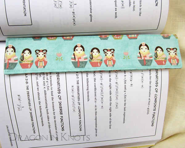 Korean Matryoshka Bookmark -  - Fabric Bookmark - Dragon in  Knots - 2
