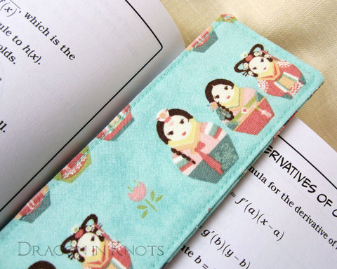 Korean Matryoshka Bookmark -  - Fabric Bookmark - Dragon in  Knots - 1
