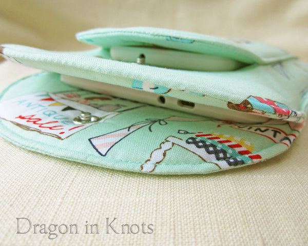 Weekend Market - Small Book or Ereader Sleeve - Dragon in Knots handmade accessory