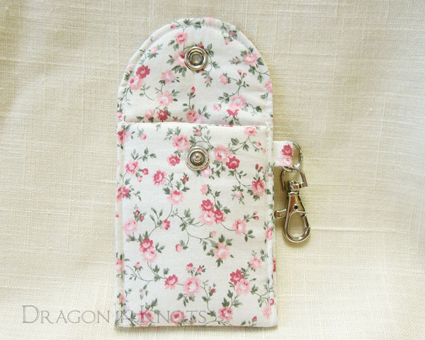 Floral Ivory Mini Essentials Pouch for Lip Balm and Cards - Dragon in Knots handmade accessory