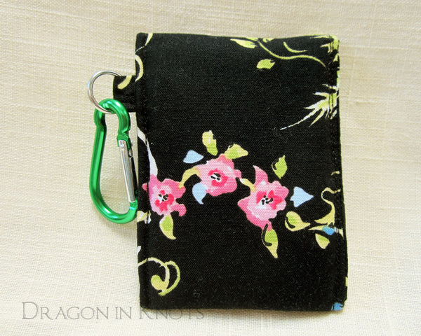 Floral Mini Essentials Pouch for Lip Gloss and Cards - Dragon in Knots handmade accessory