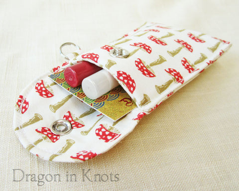 lip gloss holder and card wallet with red toadstools 1