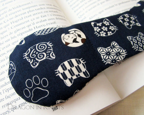 Cats on Navy Book Weight - Dragon in Knots handmade accessory