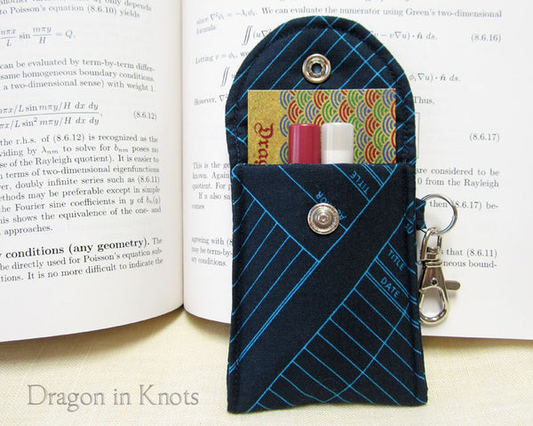 Library Checkout - Mini Essentials Pouch - Dragon in Knots handmade accessory