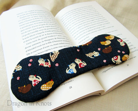 Kittens on Navy Book Weight - Japanese Cotton Neko Page Holder 1