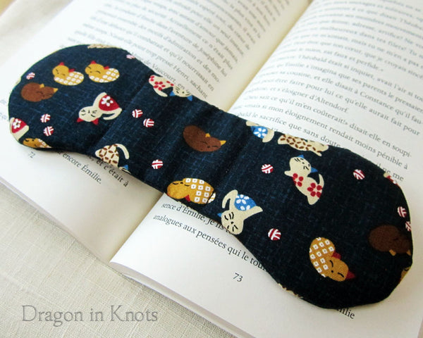 Kittens on Navy Book Weight - Dragon in Knots handmade accessory