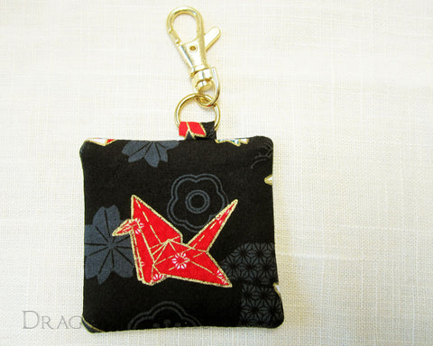 Origami Crane Keychain Pouch - Dragon in Knots handmade accessory