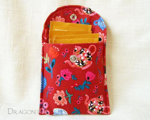 "Mad Hatter's Tea Wallet - 4"" Red Cotton Pouch 1"