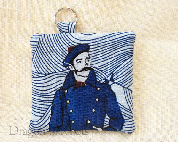 Sailor with Mustache Earbud Pouch - Nautical Blue Keychain Pocket 1