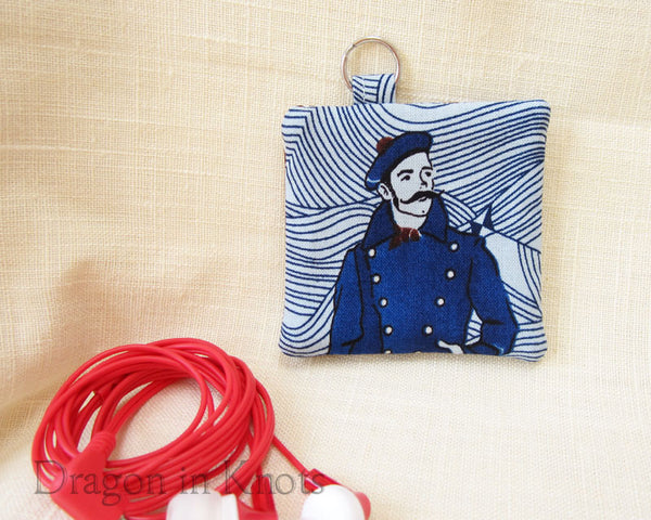 Sailor with Mustache Earbud Pouch - Nautical Blue Keychain Pocket 2