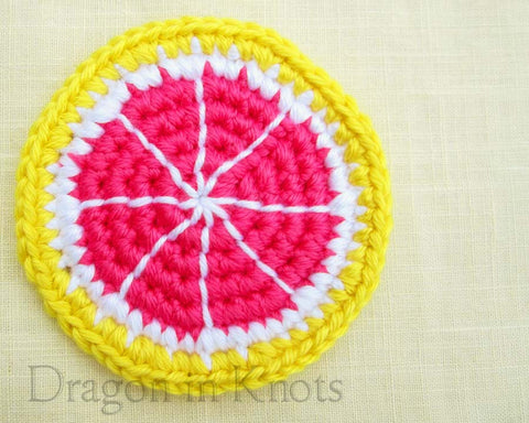 Pink Grapefruit Coaster - Single - Dragon in Knots - Coasters