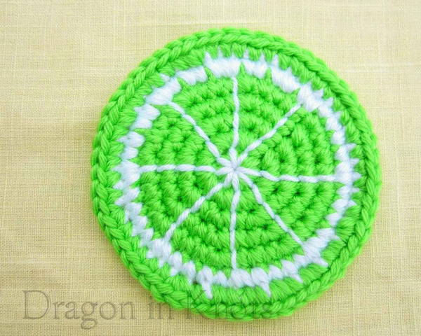 Lime Slice Coaster - Single - Dragon in Knots - Coasters