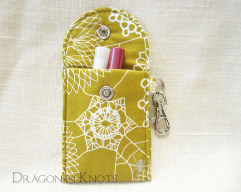 Spider Doily Lip Gloss and Card Holder - Dragon in Knots handmade accessory