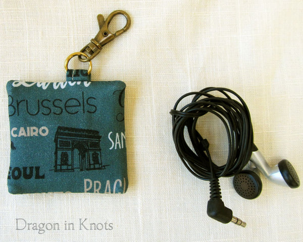 World Travel Earbud Holder - Dragon in Knots handmade accessory