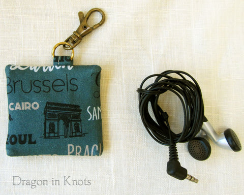 World Travel Earbud Holder - Dull Blue Keychain Pouch 1