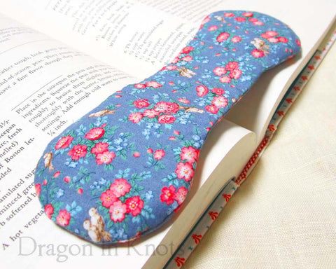 Little Birds Book Holder - Vintage Fabric Book Weight - Dragon in Knots handmade accessory