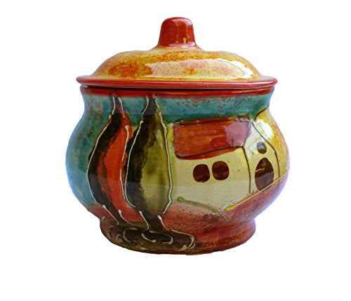 Ceramic storage jar - hand painted in Andalusia, Spain