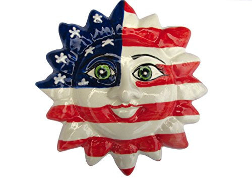 Mr. 4th of July!  Red, white and blue ceramic sun from Cactus Canyon Ceramics