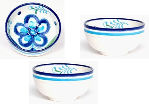 Ceramic Bowls Set of 3 Fruit Bowls - Hand Painted From Spain - Sky Design