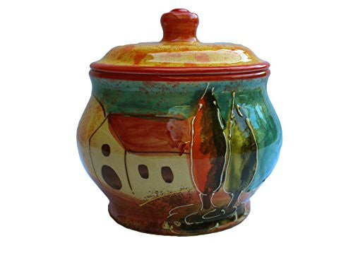 Ceramic storage jar  - hand painted by Spanish artisans