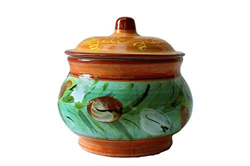 Floral design - hand painted 1 quart, counter storage jar