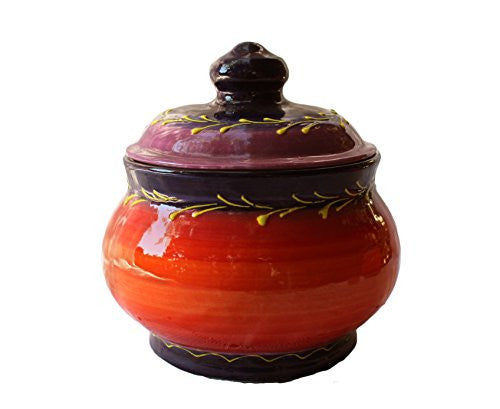 Spanish, ceramic storage jar - 1 quart capacity - handcrafted