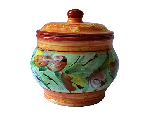 Storage Jar - 1.5 Quarts - Hand Painted in Spain - Tulips Design