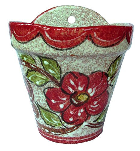Wall hanging pot - hand painted in Spain - Red Design