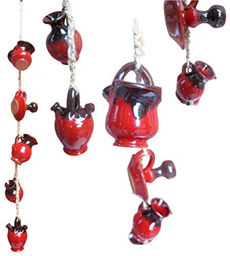 Red and black string of mini-pots for a wall hanging - from Cactus Canyon Ceramics