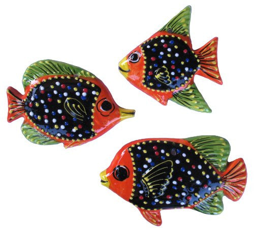 Set of 3 ceramic fish - hand painted in black, green and orange