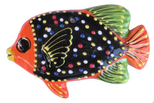 Hand painted ceramic Angel Fish - Black with green & orange