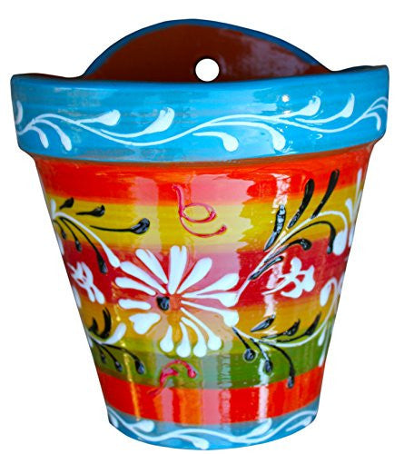 Wall pot - hand painted in Spain - Spanish Rainbow