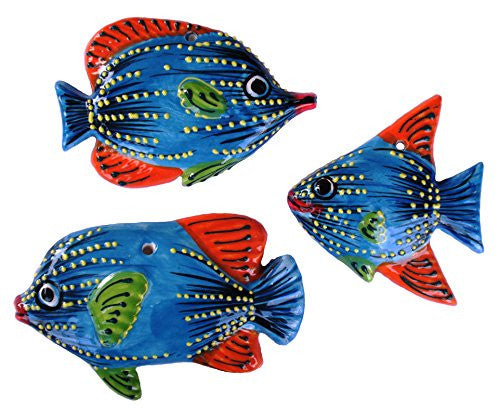 Ceramic fish set of 3, blue design from Cactus Canyon Ceramics