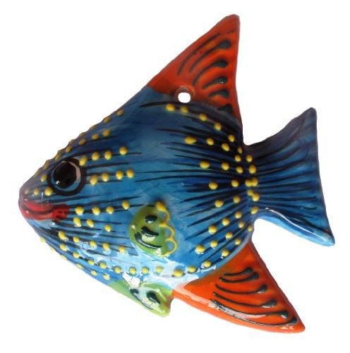 Piranha blue fish, hand painted in Andalusia, Spain