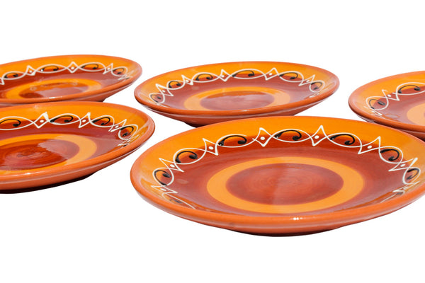 Spanish Sunset Terracotta Salad Plates, Set of 5 - Hand Painted From Spain