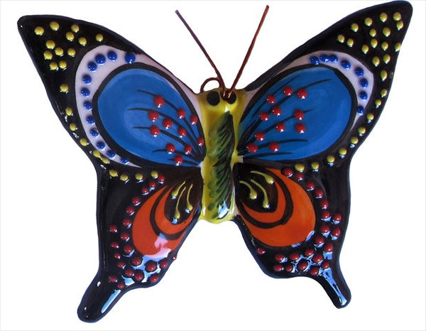 Spanish Butterflies - Set of 4 Large Ceramic Wall Hangers - Hand Painted From Spain