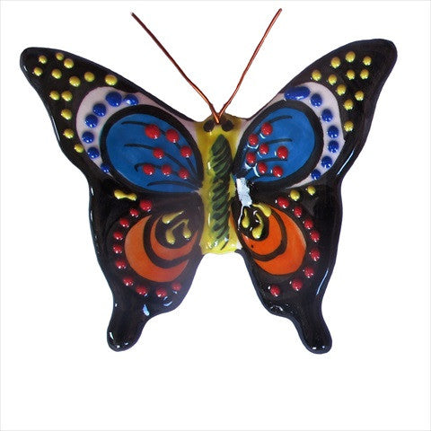 Set of 4 Small Ceramic Butterfly Wall Hangers - Hand Painted From Spain