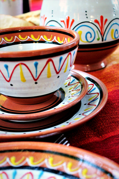 Terracotta White Breakfast Bowls, Set of 5 - Hand Painted From Spain