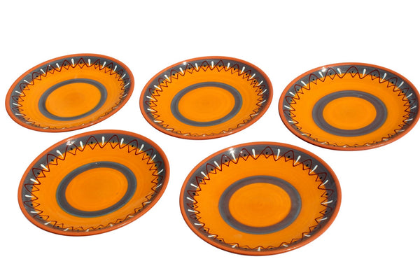 Rawhide Terracotta Small Dinner Plates Set of 5 (European Size) - Hand Painted From Spain