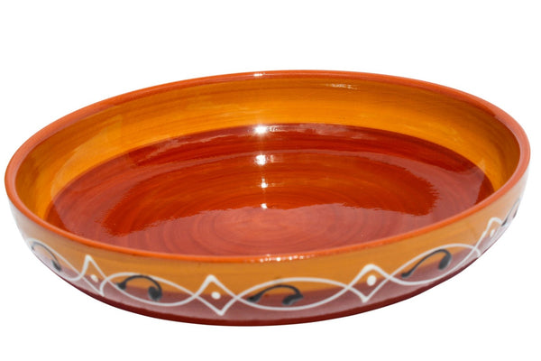 Spanish Sunset Terracotta Blue, Serving Dish - Hand Painted From Spain