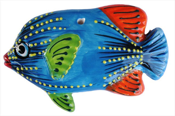 Ceramic Fish Wall Hangers - Set of 3 Shapes (Blue) - Hand Painted From Spain