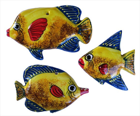 Ceramic Fish Wall Hangers - Set of 3 Shapes (Yellow) - Hand Painted From Spain