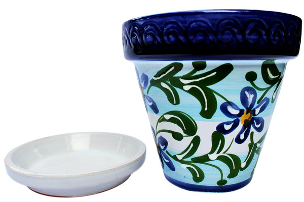 Spanish ceramic flower pot - hand painted in Spain