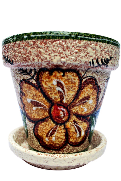 Spanish pot and saucer for the patio garden or interior home