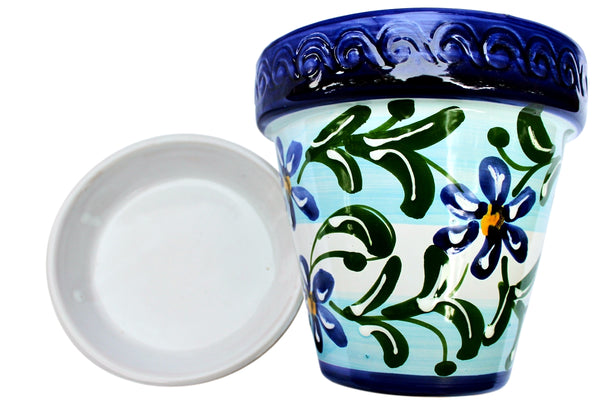 Spanish Garden Pot and Saucer - Spanish Sky Design