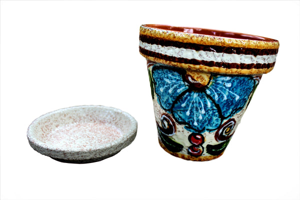 Mexican garden pot with saucer - from Cactus Canyon Ceramics