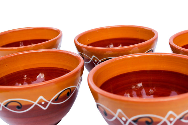 Spanish Sunset Terracotta Breakfast Bowls, Set of 5 - Hand Painted From Spain