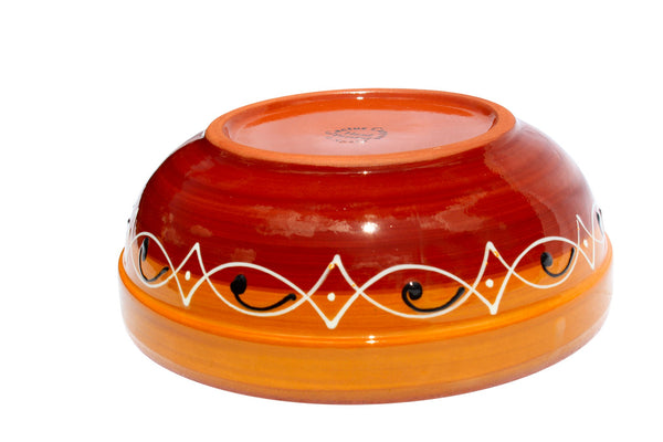 Spanish Sunset Terracotta Deep Serving Dish - Hand Painted From Spain