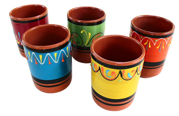 Terracotta Cups, Set of 5 - Hand Painted From Spain